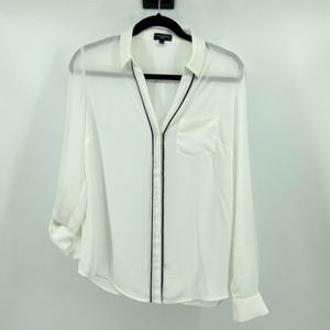 The Limited White button down with black trim top